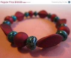 ON SALE Christmas Dark Red Bead and Pine by BeadazzlingButterfly