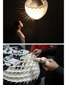 Plastic cups up-cycled into a light.