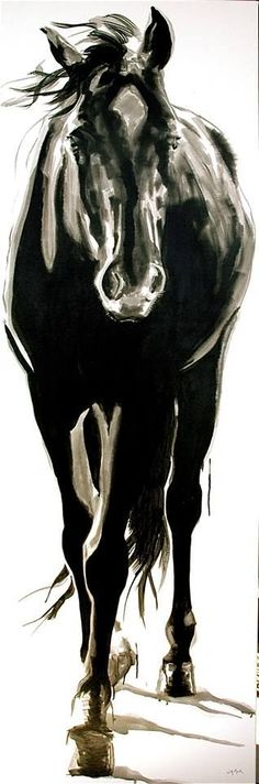 "large horse art, Canada; Jennifer Mack, jennifer@jmackfineart.com, ""BLACKIE"" 72x24 India Ink on Canvas SOLD                                                                                                                                                     More paint horses"