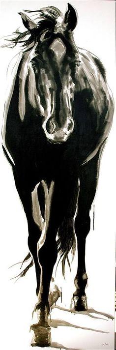 "large horse art, Canada; Jennifer Mack, jennifer@jmackfineart.com, ""BLACKIE"" 72x24 India Ink on Canvas SOLD"
