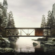 digital artist nikita shestakov gives life to modernist architect craig ellwood's unbuilt 'weekend house project' from the architectural portrayl sees an almost all-glass volume rest atop two rocks over a serene waterway see more on Contemporary Garden, Contemporary Architecture, Landscape Architecture, Interior Architecture, Contemporary Design, Contemporary Stairs, Contemporary Building, Contemporary Apartment, Contemporary Wallpaper