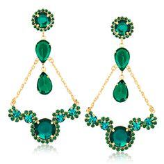 Maxi Brinco com pedras e cristais verdes folheado em ouro 18k - Francisca Joias