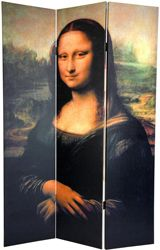 Da Vinci\'s The Mona Lisa, circa 1503-1506 print on a room divider screen