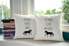 I Love My Horse Throw Pillows- Covers and or Cushions - 14x14 or 16x16 inches - horse print pillow, gift for horse lover, equestrian pillow by RoomCraft on Etsy https://www.etsy.com/listing/209139227/i-love-my-horse-throw-pillows-covers-and