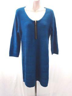 STYLE & CO. Dark Teal Blue Sweater Dress Tunic ¾ Sleeves Women's Size M  #Styleco #sweaterdress