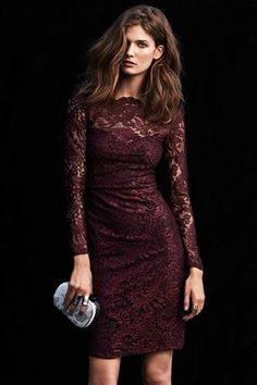 Berry bodycon lace dress GBP50