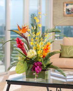 Tropical Orchids & Ginger<br>Silk Flower Arrangement