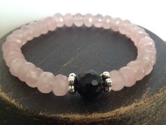 Heart & Protections Stack Solo - Rose Quartz and Black Onyx - $80