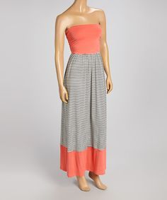 Take+a+look+at+the+Coral+&+Black+Stripe+Sleeveless+Maxi+Dress+on+#zulily+today!