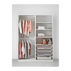 PAX Wardrobe, white, Hasvik white 150x66x201 cm -