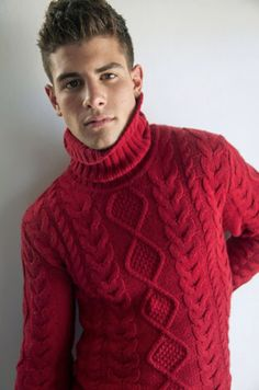 Poppy red cable knit turtleneck stud muffin.