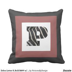Zebra Letter P, Bold B&W w/ Cranberry, B&W Chevron Throw Pillows
