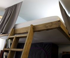 Lofting a queen bed up five feet creates almost 200 cubic feet of usable space. The possibilities are endless: storage, another bed, a couch and living room area, a desk, ...