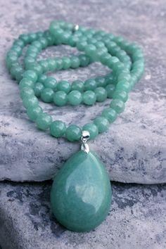 Aventurine 108 Mala Bead Necklace Bracelet by SoulfulBracelets, $95.00