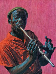 """Kwela Boy"" - Vladimir Tretchikoff, c.1950 {figurative art male musician black man playing flute art painting}"