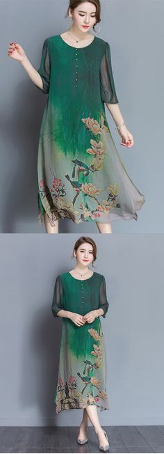 Women's Going out Chinoiserie Loose Chiffon Dress Mauve Dress, Green Midi Dress, Chiffon Dress, Silk Dress, Costume, Modest Dresses, Maxi Dresses, Fashion Outfits, Womens Fashion