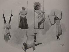 Truly bizarre vintage postcard with basic trapeze tricks.