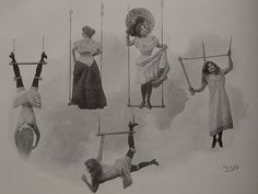 Truly bizarre vintage postcard with basic trapeze tricks.