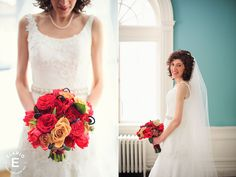 There's no need to go subdued for your winter wedding: This New York bride went bold for their bouquets from Fleurtacious Designs, weaving together red and peach to create a stunning arrangement. See more at Elario Photography.   - Veranda.com