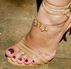 Sexy Sandals, Strappy Heels, Stiletto Heels, Beautiful Toes, Pretty Toes, Champagne Heels, Hot High Heels, Sexy Toes, Brown Heels