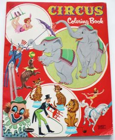 "Vintage 1958 Whitman ""Circus"" Coloring Book 32 Pages 1222 One Hat Colored 