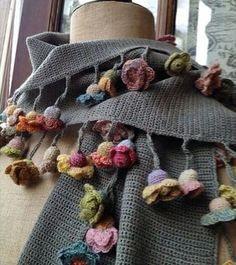 Exceptional Stitches Make a Crochet Hat Ideas. Extraordinary Stitches Make a Crochet Hat Ideas. Shawl Crochet, Crochet Flower Scarf, Freeform Crochet, Crochet Scarves, Irish Crochet, Crochet Clothes, Crochet Flowers, Knit Crochet, Knitting Projects