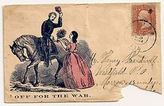 Patriotic cover/envelope with extraordinary romantic overtones of the gallant cavalry soldier as he receives a bouquet of flowers handed to him from the girl he leaves behind as he bravely rides off for the war. Great Victorian storytelling.  *s*