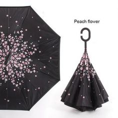 Double Layer Inside Out Folding Umbrella Upside Down Umbrellas with C-Shaped Handle for Women and Men Reverse Inverted Windproof Cute Cats And Dogs Animal Umbrella
