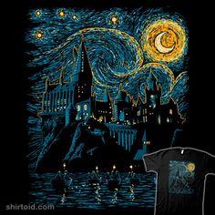 Starry School | Shirtoid #book #ddjvigo #film #harrypotter #hogwarts #movies #starrynight #vincentvangogh