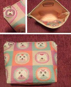This cute cosmetic bag was made by Sally Garner using our cotton sateen New Paris, Cosmetic Bag, Printing On Fabric, Monkey, Plates, Tableware, Cute, Cotton, Sally