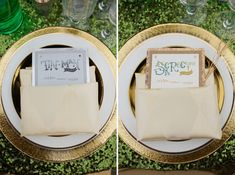 Wizard of Oz Wedding Ideas; Orizzonte Gold-Rimmed Charger, White with Gold-Rimmed China, Buttercream Regal Diamond Napkins by CE Rental, Raleigh NC