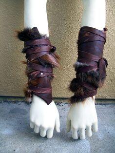 Forsworn Arm Wraps  tribal leather bracers by ArchaicLeatherworks, $55.00