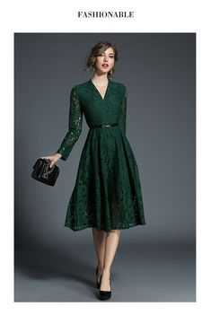 Green Patchwork Lace Draped Belt V-neck Elegant Midi Dress - Midi Dresses - Dresses Women's A Line Dresses, Elegant Midi Dresses, Green Lace Dresses, Green Midi Dress, Lace Midi Dress, Trendy Dresses, Dress Skirt, Beautiful Dresses, Casual Dresses