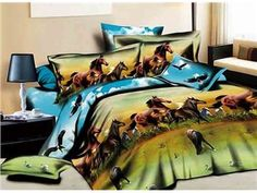 Cheap bed in a bag, Buy Quality bed in bag directly from China bedspreads beds Suppliers: Blue horse animal print bedding set sets queen size duvet cover bedspread bed in a bag sheet fashion linen brand Horse Bedding, Cheap Bedding Sets, Duvet Bedding, Bedding Decor, Queen Size Duvet Covers, Queen Comforter Sets, Comforter Cover, Animal Print Bedding, Cool Comforters