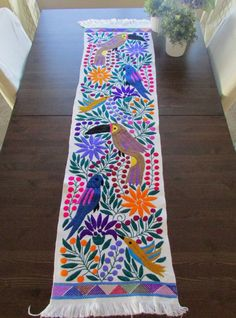 Beautiful Table runner color white with colorful embroidered tucans, birds and flowers is hand woven for a woman from Zinacantan, this is a