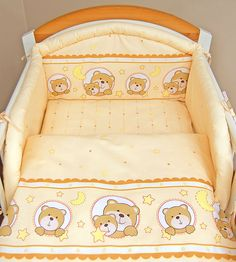 come cucire lenzuolino x culla  | Peach happy teddy 3 pieces bedding set Cot bed (70cm x 140cm)