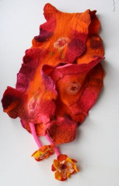 Someday I will learn nuno felting.  Felted Scarf with Felted Flower Tassels  Pinks by FrouFrouFelt, $25.00