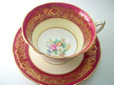 Antique 1940's Hammersley Magenta red Tea Cup by AntiqueAndCrafts