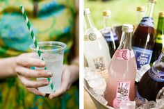 paper straws and an eclectic mix of drinks for a garden party wedding