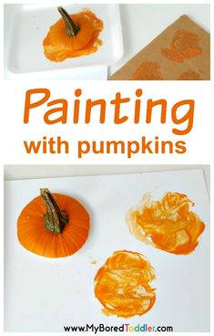 Painting with pumpkins toddler activity -a fun and easy painting activity for toddlers or preschoolers. Perfect for Fall, Autumn or Halloween. Painting with Pumpkins Toddler Activity: Halloween Activities For Toddlers, Fall Crafts For Toddlers, Autumn Activities For Kids, Fall Preschool, Nursery Activities, Infant Activities, Toddler Painting Activities, Group Activities, Indoor Activities