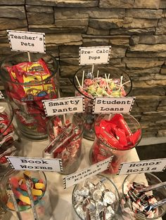 by janie College graduation themed candy bar! by janie College graduation themed candy bar! by janie Graduation Party Planning, Graduation Party Themes, College Graduation Parties, Kindergarten Graduation, Graduation Celebration, Graduation Decorations, Grad Parties, Teacher Graduation Party, Graduation Desserts