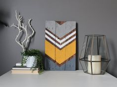 Yellow, shades of gray and white adorn this reclaimed wood art piece. This large piece is 10.5x17--each completed art piece will vary slightly in