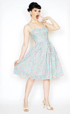 Medium like new, worn a couple of times. Frenchie Pin Up Dress in Eiffel Tower Aqua & Red Print - Bernie Dexter