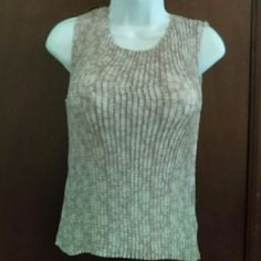 Studio Y  Cute Tank Dressy, stretchy sleeveless tank.  Tan and creme pattern.  Wear with jeans or pair with dressy bottoms for a night out! Studio Y Tops Tank Tops