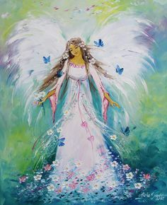 Angel by Viola Sado Angel Artwork, Angel Paintings, Angel Guide, Angel Drawing, I Believe In Angels, Angel Pictures, Angels Among Us, Guardian Angels, Fairy Art