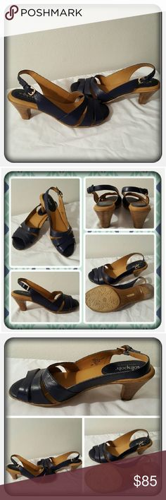 Leather Navy Sling Back Sandals Size 10M Like New Woman's Genuine Leather Navy Colored Sling Back Sandals Size 10M From Woman Within Brand Is Softspots. These Are Super Cute & Comfy In Excellent Condition Worn Once For A Dinner Party 🚫 PAYPAL 🚫 TRADES 🚫 LOWBALLING ❤ Softspots Shoes Sandals