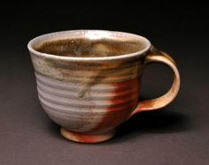 Wood Fired Tea Cup with Ochre Celadon Liner and by TheBrownPottery, $15.00
