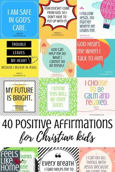 40 positive affirmations for Christian kids - You will find tons of encouragement and inspiration for anxiety and anxious, worried thoughts in these 40 printable positive affirmations cards for Christian kids. Calm, peaceful thoughts for kids with anxiety Inspirational Artwork, Short Inspirational Quotes, Motivational Messages, Christian Kids, Christian Quotes, Christian Classroom, Christian Marriage, Christian Living, Negative Thoughts