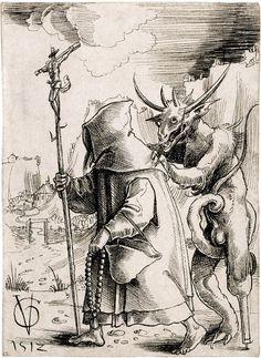 Crippled Devil by Urs Graf [More Illustrations on Rhade-Zapan] La Danse Macabre, Macabre Art, Medieval Art, Renaissance Art, Art And Illustration, Satanic Art, Demon Art, Occult Art, Unusual Art