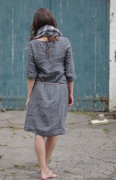 grey linen dress + distressed blue painted wood
